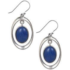 Lucky Brand Silver-Tone & Gemstone Hoop Earrings Women's Blue ($29) ❤ liked on Polyvore