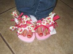Ribbon enhanced flip flops awesome kiddie project! What a great girl party favor idea!! Nails and Flip flops to show them off! So Fancy Nancy Style:)