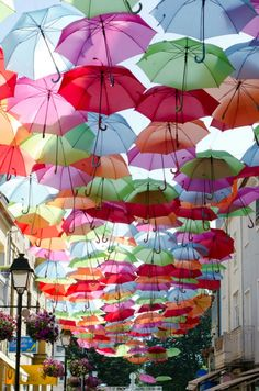 love :)   Colorful Umbrellas Installation in Águeda, Portugal \\\ Initiative of the Municipality of Agueda to stimulate the traditional shopping street.