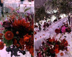 saipua fall centerpieces   love the dramatic deep red. Burgundy dahlias