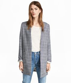 Check this out! Short, straight-cut coat in textured-weave fabric with no buttons. Lined. - Visit hm.com to see more.