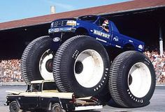 Bigfoot: World's Biggest Monster Truck Bigfoot 5 is the world's biggest and heaviest monster truck. It has a 1996 Ford F250 pickup body with a 460 cu inch V8 for power. Bigfoot 5 weighs 28,000 lbs and stands 15 feet 6 inches tall. The enormous tires are from an Alaskan land train, a vehicle used by the US army in the 1950's.