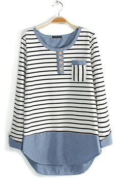 Stripe Colorblocking Scoop Neckline Blouse