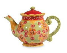 Gracie China Dutch Wax Hand Paint Ceramic 4-Cup Teapot, Red/Green/Floral by Coastline Imports