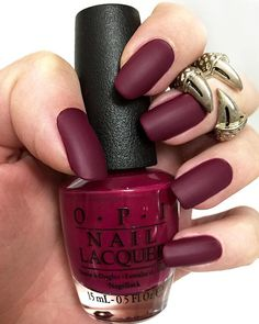 "All matte everything. Love this nail color for fall @opi_products. For those of you that have been asking, the color is called ""Just Beclaus"" by OPI with a matte top coat. #farihaalh"