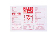 Brand Refresh for Cult Pizzeria Killer Pizza. Taking inspiration from Pizza & B-grade Horror films, skate culture & no frills pie shops, The new direction of the brand the team wanted to tone down the branding and bring the identity back to a simple … Pizza Branding, Restaurant Identity, Restaurant Menu Design, Restaurant Restaurant, Pizza Menu Design, Food Menu Design, Packaging Design Inspiration, Graphic Design Inspiration, Brochure Design