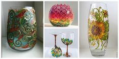 H Glass Vase, Diy And Crafts, Alcohol, Painting, Home Decor, Glass Art, Stained Glass Windows, Vases, Throw Pillows