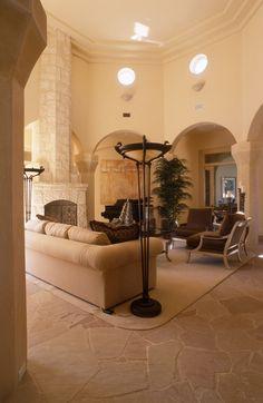 Beige Contemporary-Mediterranean Family Room - Living Room Design Ideas - Photos