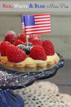 4th of July ideas ~ Mr. & Mrs. P: Red, White and Blue Mini Pies ~ Homemade Crust & Cream Filling Recipe