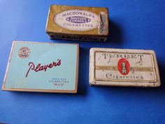 Vintage Cigarette Tins, Mixed Lot of three(3) British Consols, Turret, Players