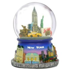 Musical New York City Rotating Snow Globe with Famous Landmarks and Icons Revolving in These NYC Snow Globes (5 Inches, 100mm)