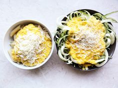 Creamy corn sauce with zoodles or penne - Foodie Sisters