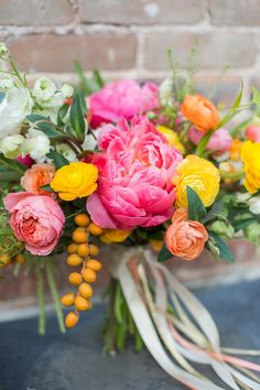 Flowers by Lace and Lilies, Bridal Bouquet, Spring Wedding, Coral Peonies, Citrus Wedding, Orange Wedding, Colorado Wedding, Mountain Wedding, Countdown to 2016 // Best of 2015: Bouquets — Lace and Lilies