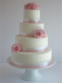 Rose and Pearl 4 Tier Wedding Cake - Cake by Rachel Beautiful Wedding Cakes, Gorgeous Cakes, Pretty Cakes, Cute Cakes, Amazing Cakes, 4 Tier Wedding Cake, Cake Gallery, Wedding Cake Inspiration, Fancy Cakes