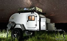 Bug Out Trailer. Off road suspension, teardrop design, fuel cans, locking storage. Roof top tent for extra sleeping or removed for extra storage.