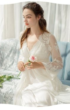 Lace Robe Long Robe Lady White Lace Embroidery Robe and Slip Two Pieces For Women Robe Sleepwear Bride White Bridal Robe, Bridal Robes, Bridal Lingerie, Vestidos Vintage, Vintage Dresses, Vestidos Para Baby Shower, Night Dress For Women, Sleepwear Women, The Dress