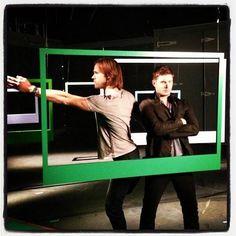 Jared Padalecki and Jensen Ackles Posing at the CW Supernatural Photoshoot