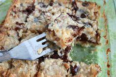 Chocolate Almond Macaroon Bars, It Bakes Me Happy - smaller recipe uses 8x8 pan