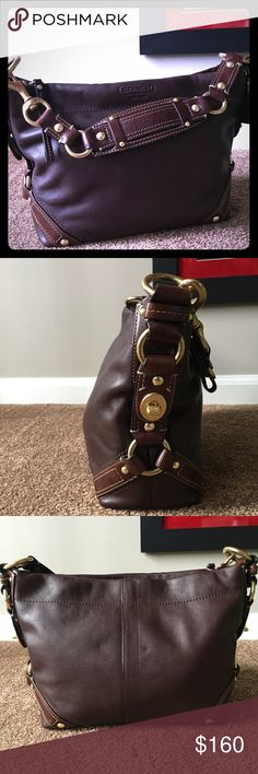"""Authentic Coach Handbag This bag is s beautiful! Smooth leather, chocolate Brown with gold hardware and a lighter brown accents. Very few signs of wear on bottom of the bag ( see photo above ) and few signs of wear on gold hardware on bottom. Strap L is 18"""", 9"""" H, 12.5"""" W  and 5"""" D. Beautiful and clean interior with two slip pockets and one zip pocket. Coach Bags Shoulder Bags"""