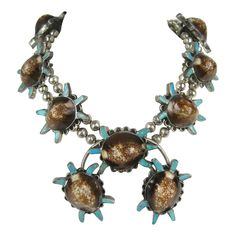 E.A. Zunie Old Pawn Sterling Turtle Squash Blossom Necklace | From a unique collection of vintage multi-strand necklaces at https://www.1stdibs.com/jewelry/necklaces/multi-strand-necklaces/