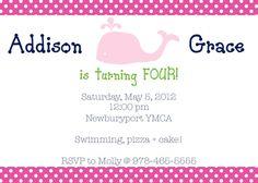 Preppy Whale Birthday Invitations