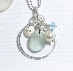 Sea Glass Jewelry Circle Sea Glass Necklace by GardenLeafSeaside