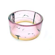 Chunky Bangle Bracelet Bird on a Wire II by BuyMyCrap on Etsy