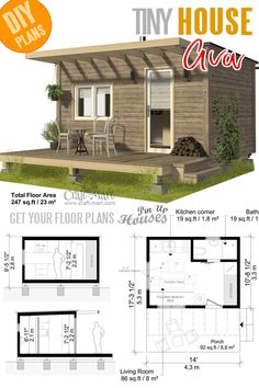 Small and tiny Home plans with cost to build - Pod Cabin Plans Ava Small and tiny Home plans with cost to build - Pod Cabin Plans Ava Building Costs, Building A Tiny House, Tiny House Cabin, Tiny House Living, Tiny House Design, Small House Plans, House Floor Plans, Tiny Cabin Plans, Tiny Cabins