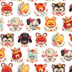 Wrapping retro animal faces is part of Vintage wrapping paper - Vintage Greeting Cards, Vintage Ephemera, Vintage Pictures, Vintage Images, Vintage Prints, Vintage Toys, Chenille Crafts, Vintage Wrapping Paper, Kawaii