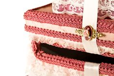 Pink vintage and lace wedding card box