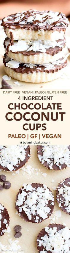4 Ingredient Paleo Chocolate Coconut Cups (V, GF, Paleo): a 4-ingredient recipe for delicious coconut-filled homemade Mounds cups. #Vegan #GlutenFree #Paleo #DairyFree | BeamingBaker.com