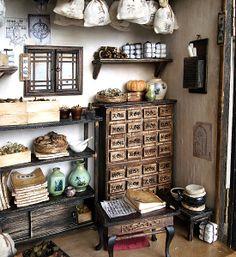 Traditional oriental Herbal Medicine Shop-Miniatures by Hea Kyung, via Behance