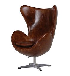 The Leather Swivel Egg Chair from CH Furniture is a great piece of accent furniture that can work for many home decorating themes feature traditional and contemporary styling. White Painted Furniture, Funky Furniture, French Furniture, Leather Furniture, Shabby Chic Furniture, Leather Chaise Lounge Chair, Swivel Armchair, Leather Chairs, Vintage Leather Sofa