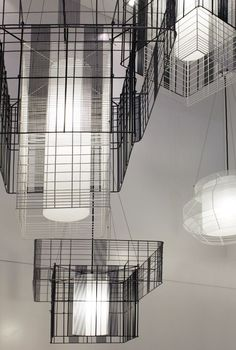 "Forestier presented the ""Mesh Cubic"" series by Arik Levy. #maisonobjet  #lighting"