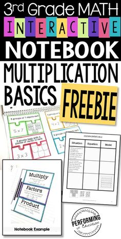 Multiplication Interactive Math Notebook Grade OA FREE Free multiplication interactive notebook for grade! I love using these to teach my students new concepts. They take them home to study and color them! Maths 3e, Teaching Multiplication, Teaching Math, Multiplication Strategies, Math Fractions, Teaching Ideas, Interactive Math Journals, Math Notebooks, Decimal