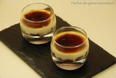 Verrines de flan au foie gras sur confit d'oignons