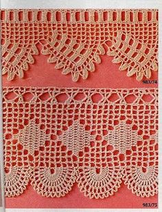 This Pin was discovered by Gök Filet Crochet, Crochet Lace Edging, Crochet Borders, Crochet Diagram, Thread Crochet, Crochet Trim, Crochet Flowers, Crochet Stitches, Knit Crochet