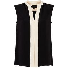 Rental DEREK LAM Nehru Blouse ($85) ❤ liked on Polyvore featuring tops, blouses, dresses, derek lam, sleeveless tops, derek lam top, black high neck top and sleeveless blouse