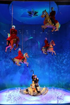 Bloomingdale's New York      Bloomingdale's holiday windows are as artful and acrobatic as the Cirque du Soleil performance that accompanied their unveiling. In this scene, horses gallop through the air.               Source: Getty