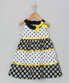 Take a look at this Black & Yellow Yoke Dress - Toddler & Girls by Longstreet on #zulily today!