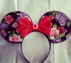 Black Floral Mickey ears with Red bow