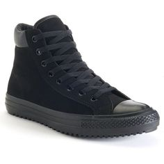 Men's Converse Chuck Taylor All Star Boot High-Top Sneakers ($65) ❤ liked on Polyvore featuring men's fashion, men's shoes, men's sneakers, black, mens high tops, mens shoes, mens sneakers, mens black hi top sneakers and mens hi tops
