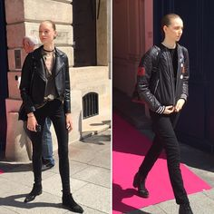 Do I even need to say any anything about uniforms. More off-duty @elsaschiaparelli shots.  #schiaparelli #parisdispatch #pfw #glamhive #fashion #fashionblogger #Paris #couture #model #style