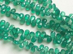 Green Onyx Faceted Pear Beads Green Onyx Beads by gemsforjewels