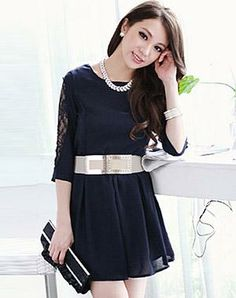 Lace sleeve casual dress