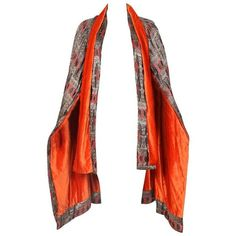 Preowned 1920's Paul Poiret Inspired Geometric Print Cape W/orange... ($3,600) ❤ liked on Polyvore featuring outerwear, brown, white necktie, neck-tie, brown cape, velvet cape and brown neck tie