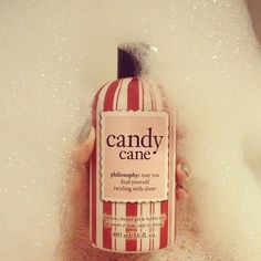 Candy cane bubble bath.