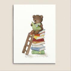 Brown Teddy Bear Reading Books Nursery Wall by NaturesHeavenlyArt, $9.00