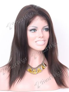 14inch natural black fine light yaki indian hair full lace wig all hand made