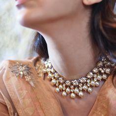 Moti and polki jewellery - ar jewels Indian Jewelry Sets, Indian Wedding Jewelry, Bridal Jewelry, India Jewelry, Pearl Jewelry, Jewelry Necklaces, Jewelery, Pearl Necklaces, Pretty Necklaces